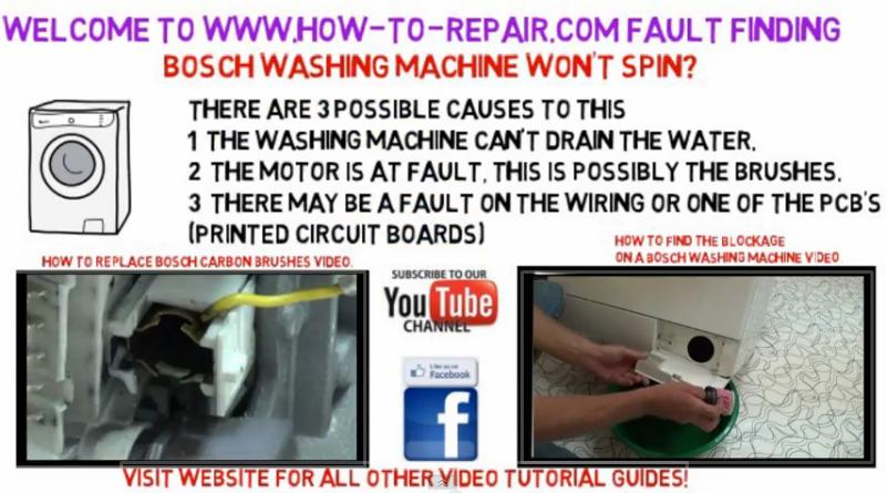 Bosch washing machine will not spin  - How to Repair Appliance video