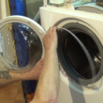 fitting the front retaining band to Aeg washing machine